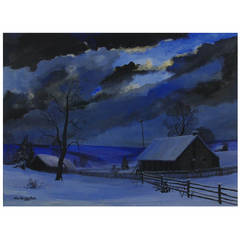 "Frederick Rushing Roe Landscape, American, ""Winter Night"""