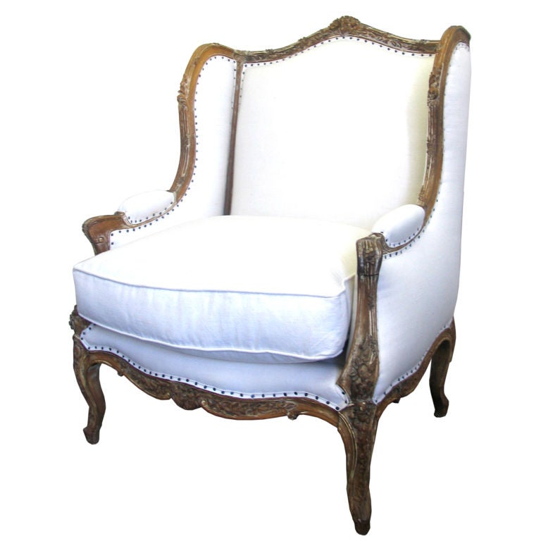 Louis Xv Style Carved Walnut Bergere Chair At 1stdibs