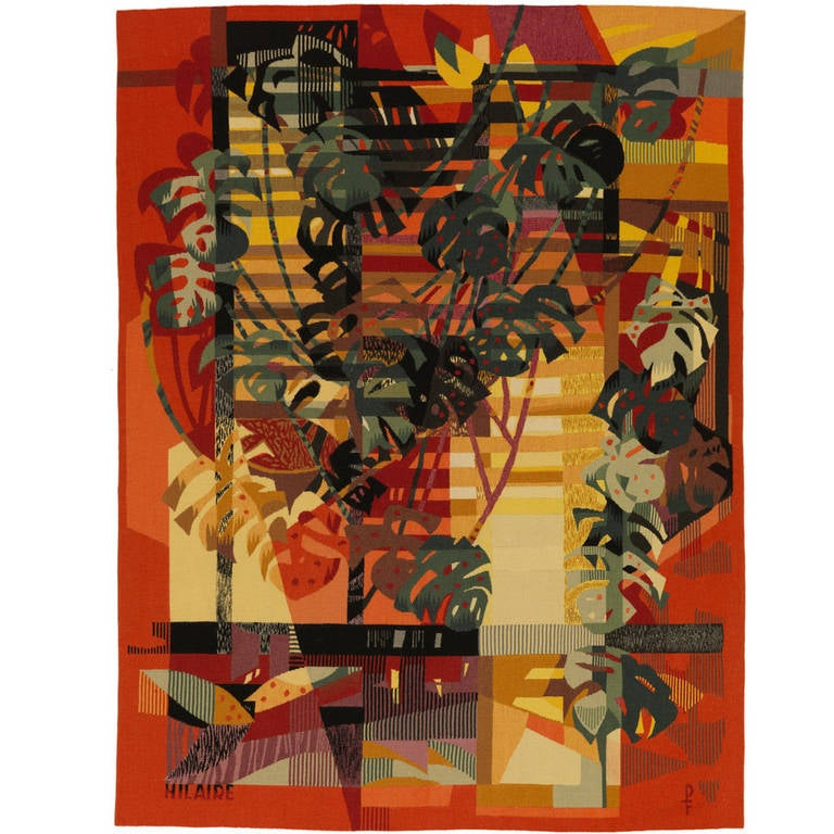Mid-Century Modern Aubusson Tapestry by Camille Hilaire