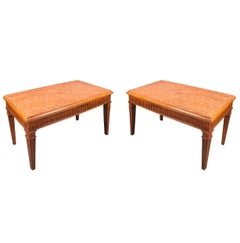 Pair of Italian Consoles with Marble Inset Top