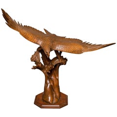Large Antique Japanese Carving of an Eagle
