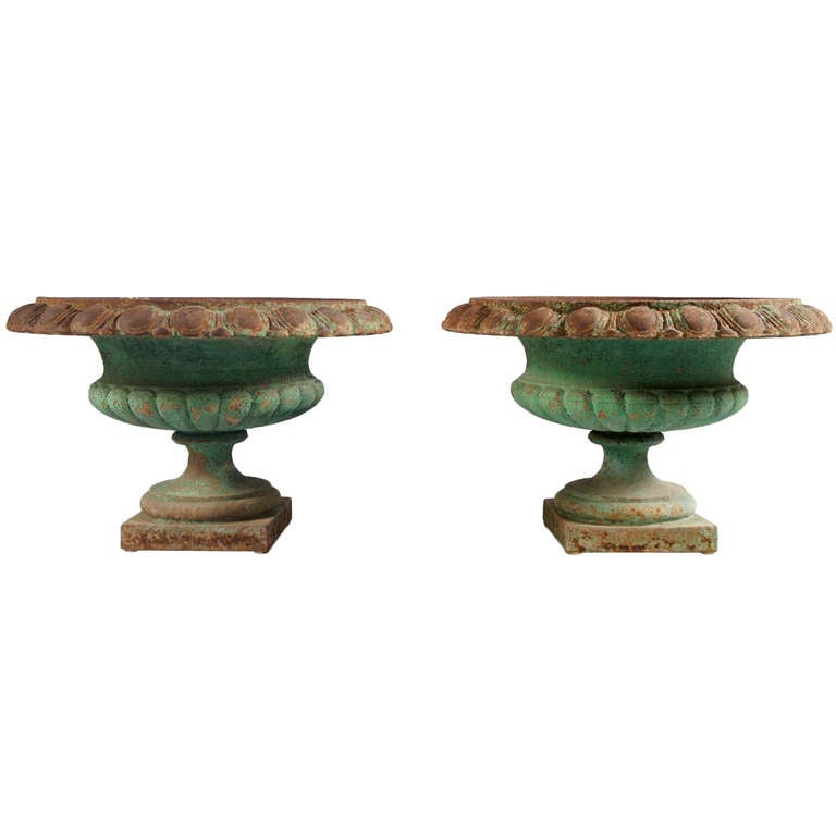 Pair of French, Green Iron Urns
