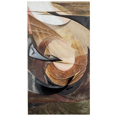 Japanese Carved Wooden Panel: Herons in Flight in an Abstract Form