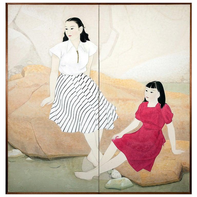 "Japanese Two-Panel Screen ""Women in Western Dress"" For Sale"