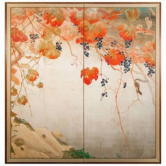 Japanese Two-Panel Screen, Autumnal Screen of Grape Arbor with Squirrel