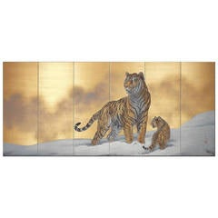 Japanese Six-Panel Screen Siberian Tigers
