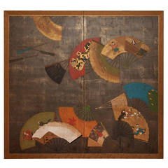 Japanese Two Panel Screen, Painted Fans