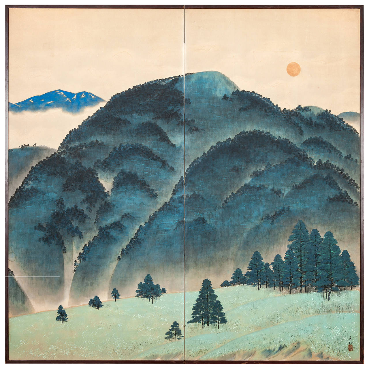 Japanese screen blue mountain landscape at 1stdibs for Japanese watercolor paintings