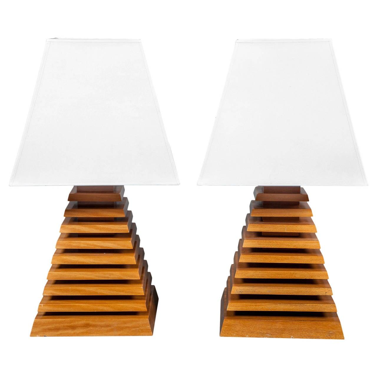 Pair of Wood Pyramid Lamps