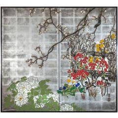 Japanese Screen, Spring Flowers