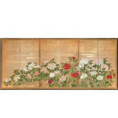 "Japanese Six-Panel Screen ""Peonies"""