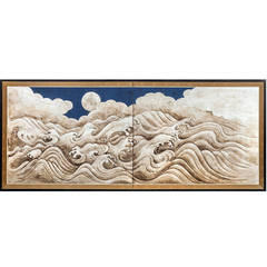 Japanese Screen Painting of Moon over Waves