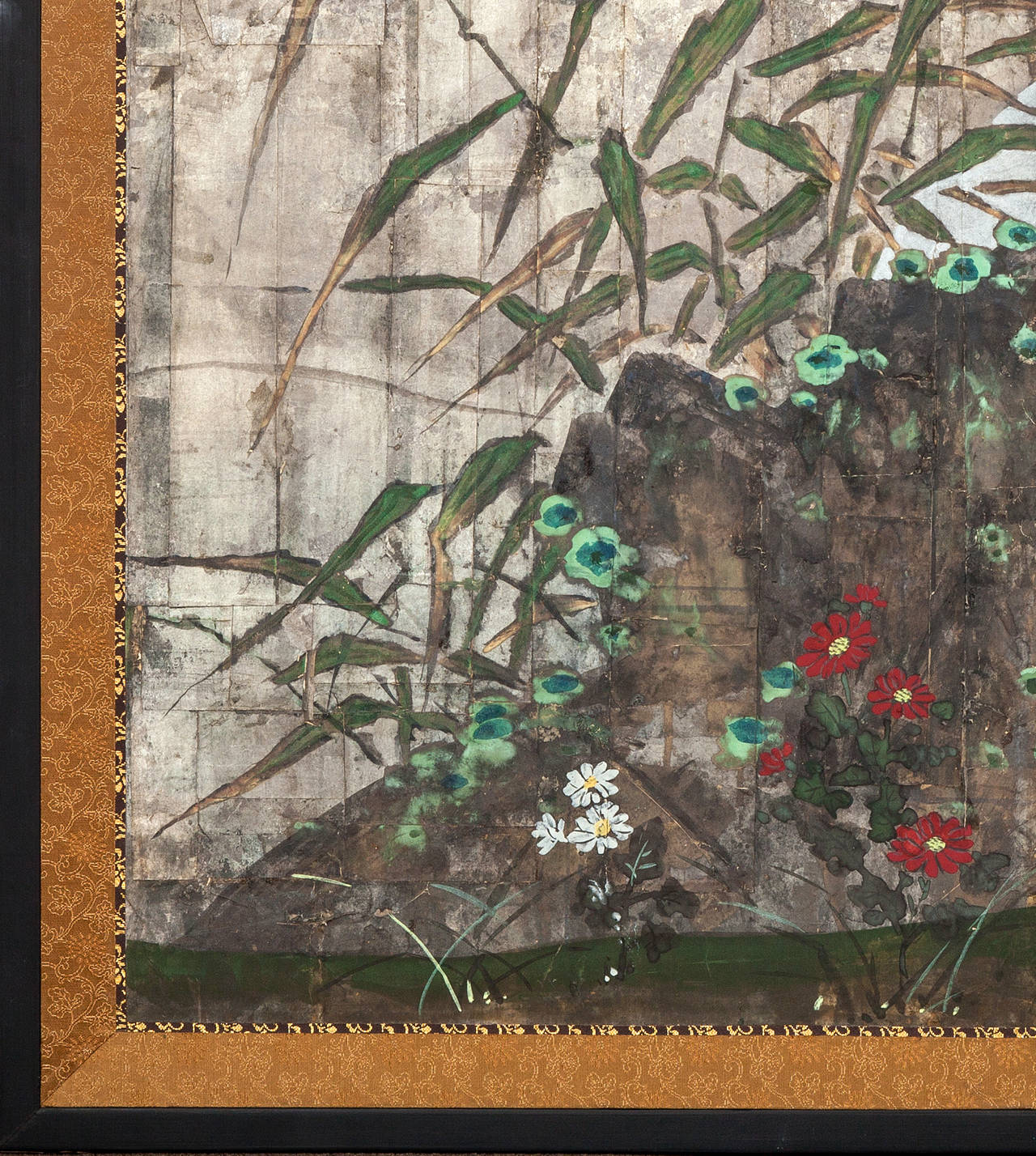 Japanese Two Panel Screen: Moon Rising Through Bamboo On Silver Leaf,  Meiji period painting (1868 - 1912) of the moon rising on the horizon with a garden stone in the foreground.  Lichen and small flowers growing on and around the stone.  Mineral