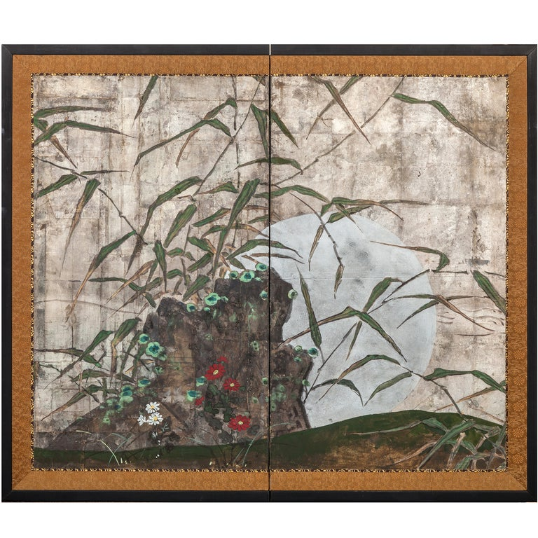 Japanese Two Panel Screen: Moon Rising Through Bamboo On Silver Leaf