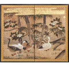 Japanese Two Panel Screen:  Mandarin Ducks and Geese Among Bamboo and Flowers