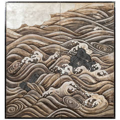 Japanese Screen Rocks and Waves