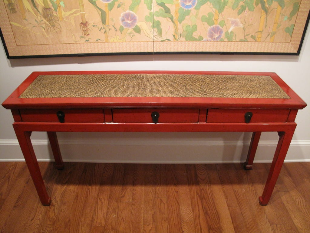 Chinese red lacquer console table at stdibs