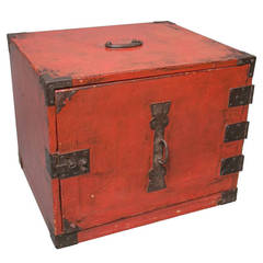 Red Lacquer Ship's Tansu or Chest