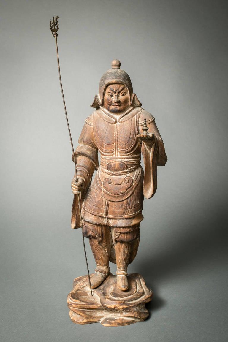 Japanese hinoki wood sculpture of bishamon for sale at stdibs