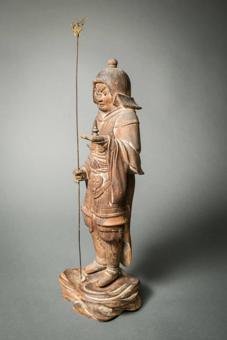 18th Century and Earlier Early Japanese Hinoki Wood Sculpture of Bishamon For Sale