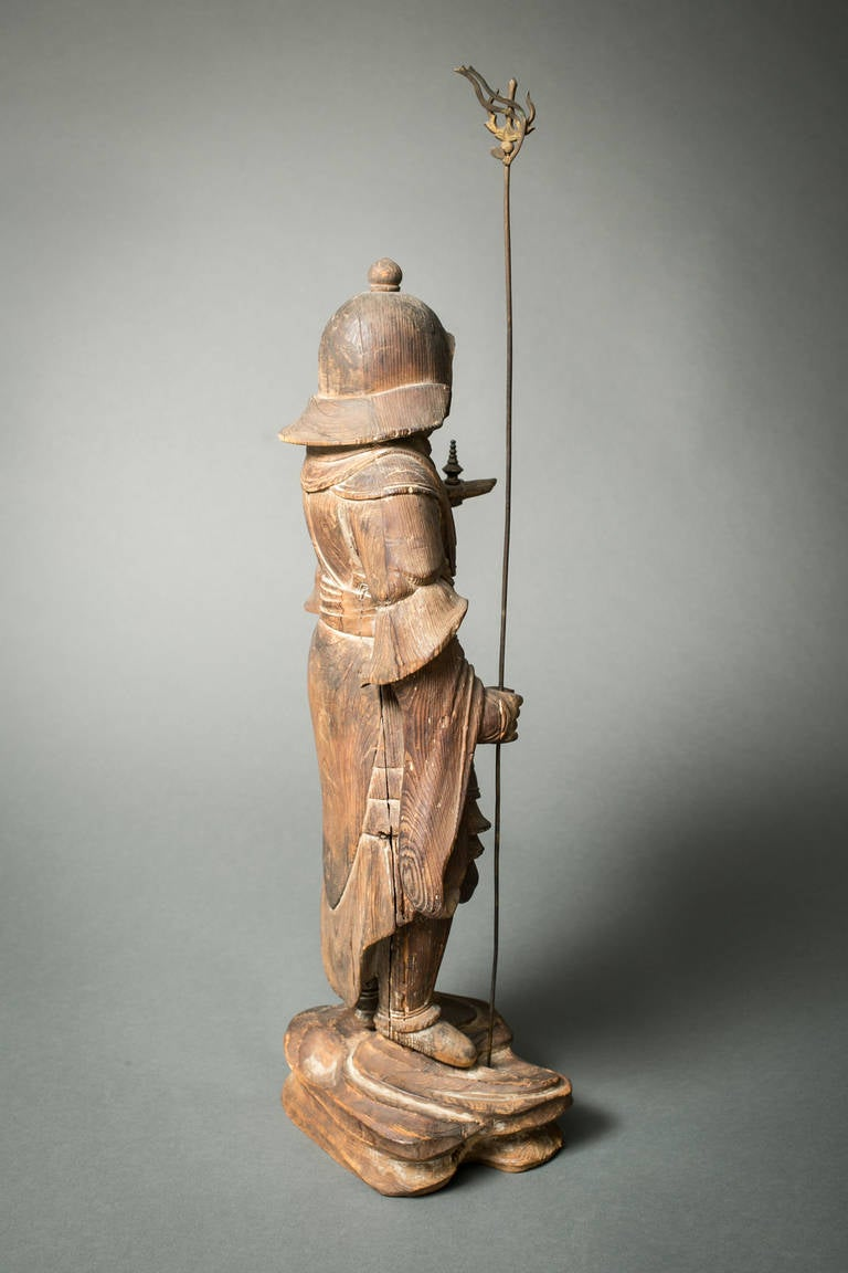 Hand-Carved Early Japanese Hinoki Wood Sculpture of Bishamon For Sale