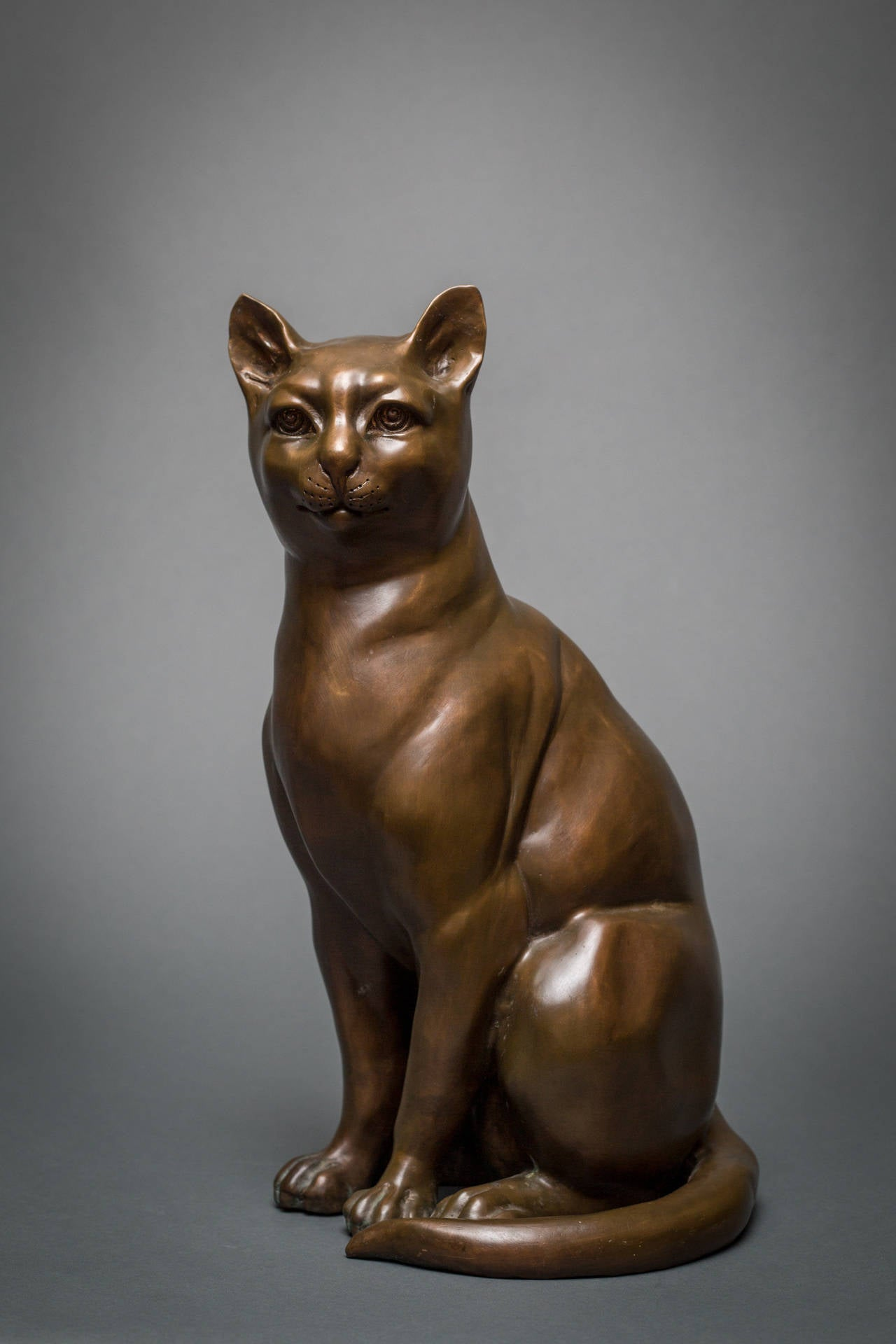 French Bronze Cat Sculpture In Good Condition For Sale In Hudson, NY