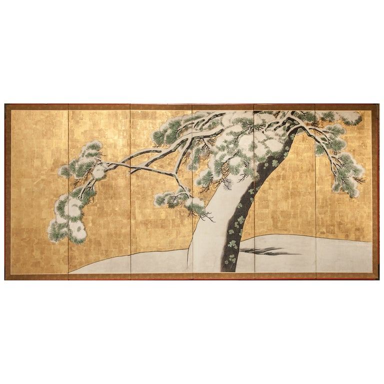 Japanese Six Panel Screen: Pine in Snow on Heavy Gold Leaf For Sale