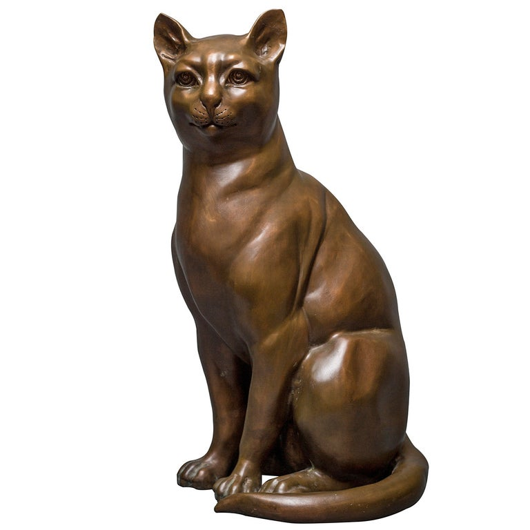 French Bronze Cat Sculpture For Sale
