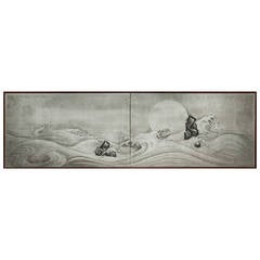 """Japanese Screens, """"Craggy Rocks and Moonlit Waves on Silver"""""""