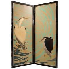 Japanese Lacquered Art Deco Screen of Herons