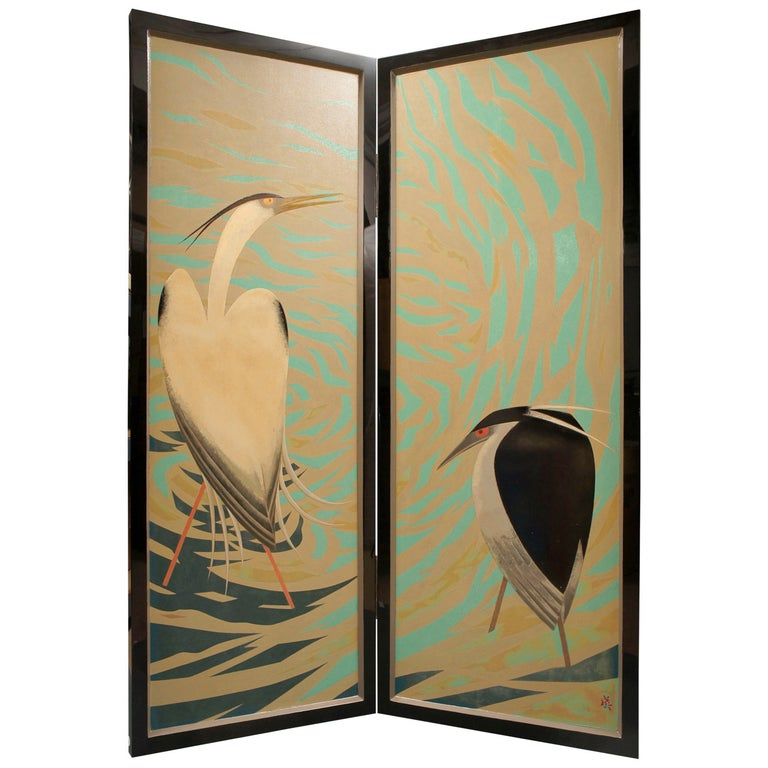 Japanese Lacquered Art Deco Screen of Herons For Sale