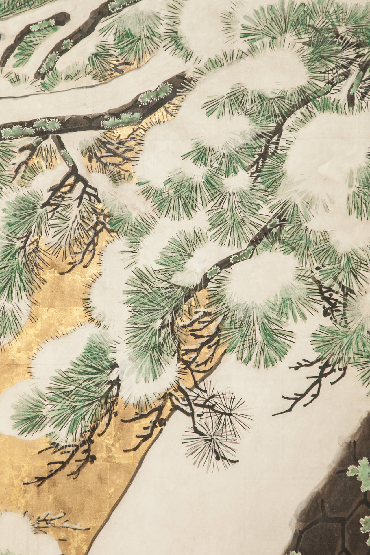 Japanese Six Panel Screen: Pine in Snow on Heavy Gold Leaf In Good Condition For Sale In Hudson, NY