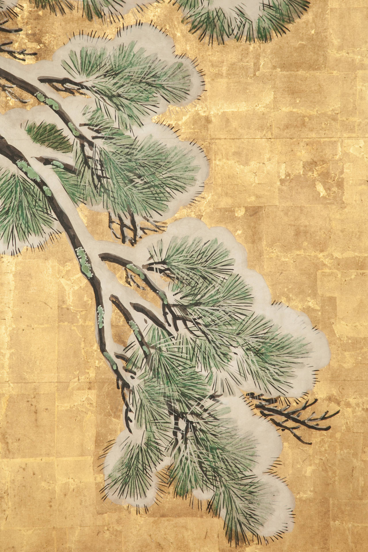 19th Century Japanese Six Panel Screen: Pine in Snow on Heavy Gold Leaf For Sale