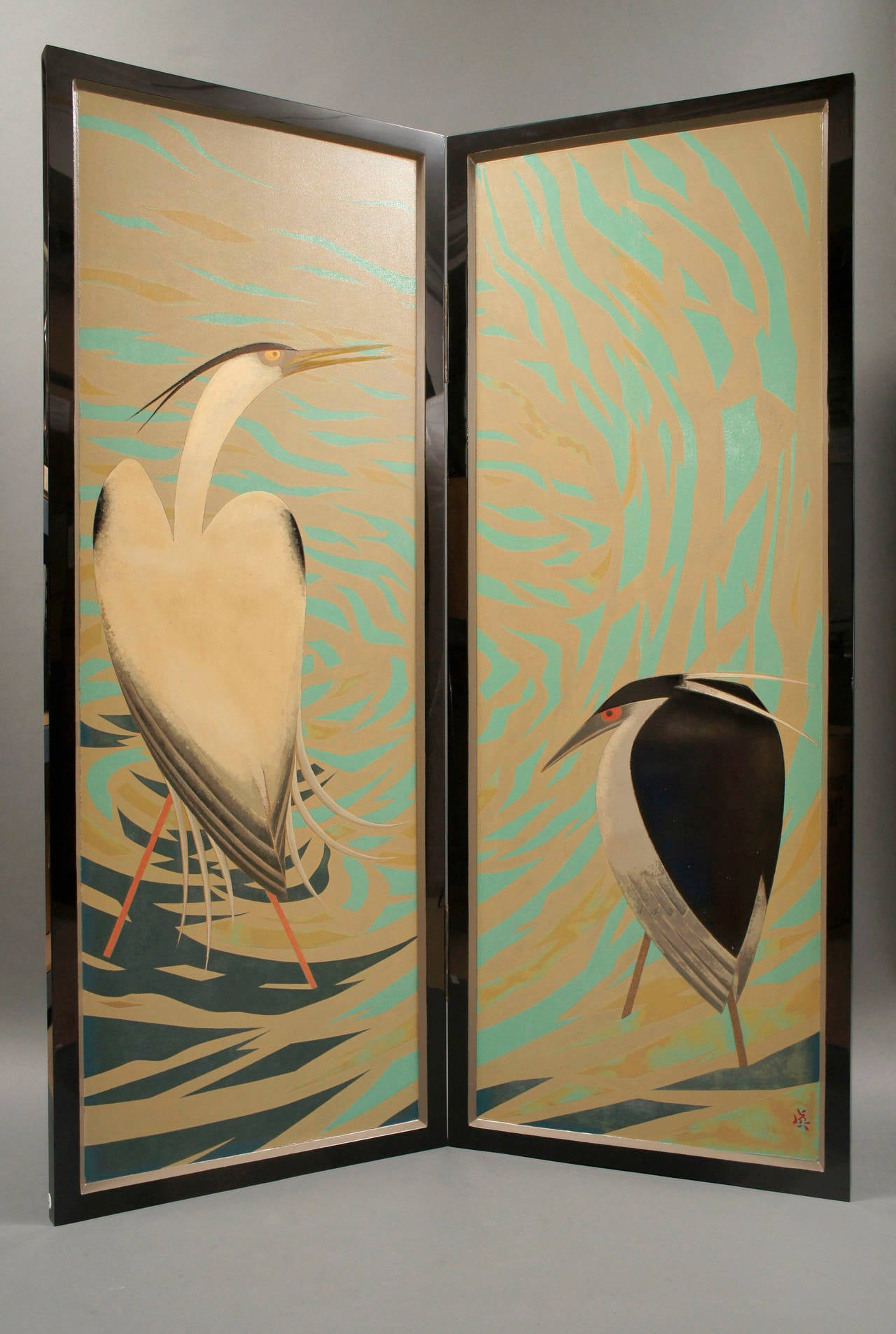japanese lacquered art deco screen of herons 2