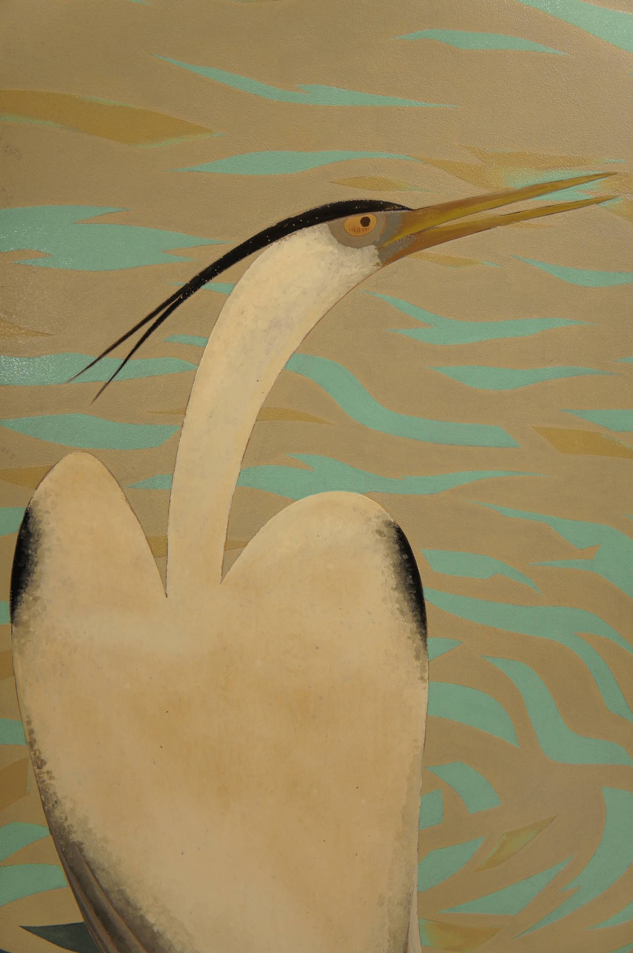 Early 20th Century Japanese Lacquered Art Deco Screen of Herons For Sale