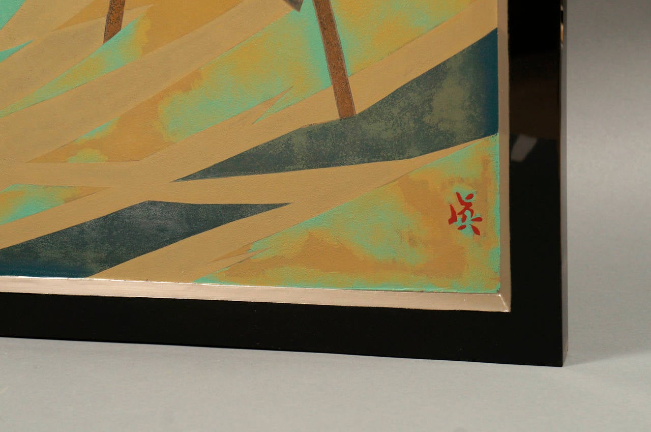 Japanese Lacquered Art Deco Screen of Herons For Sale 1