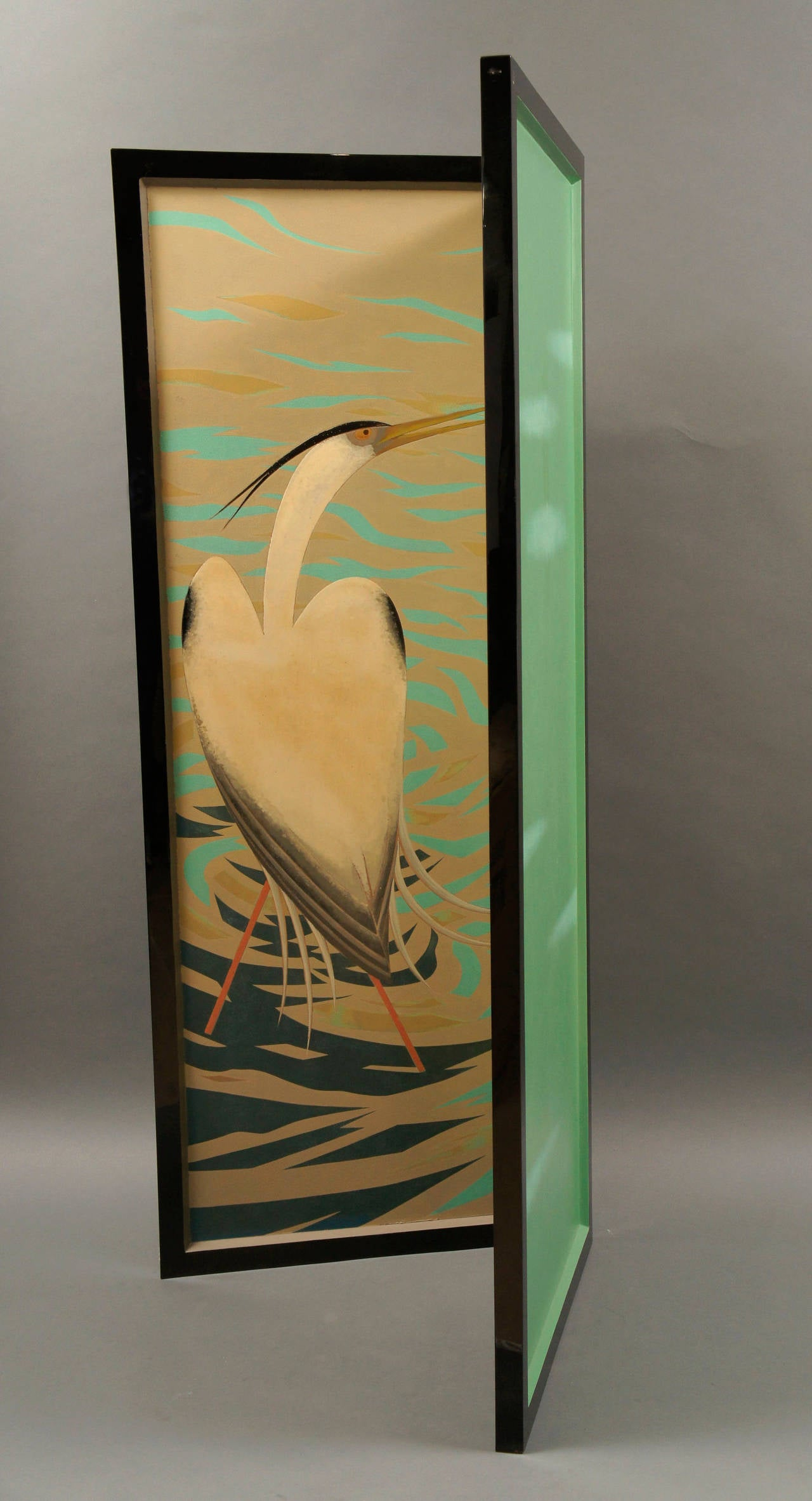 Japanese Lacquered Art Deco Screen of Herons For Sale 2