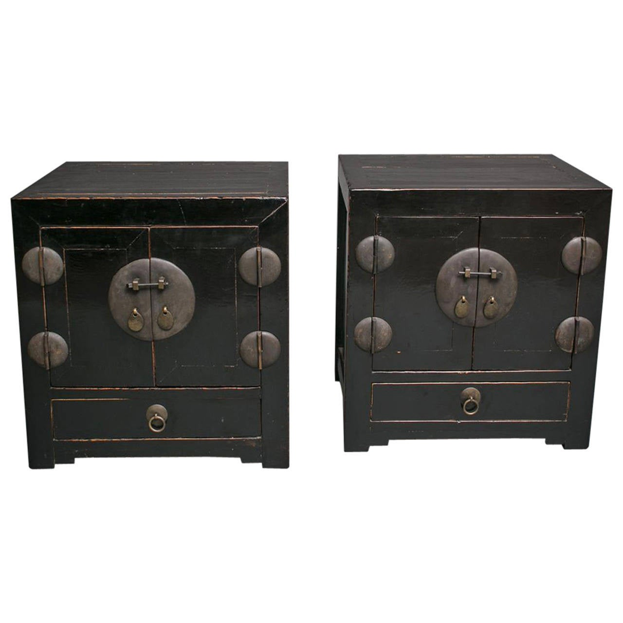 Pair of chinese black lacquer cabinets at 1stdibs for Chinese black lacquer furniture