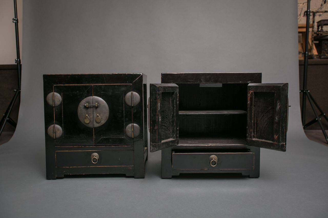 Pair Of Chinese Black Lacquer Cabinets At 1stdibs