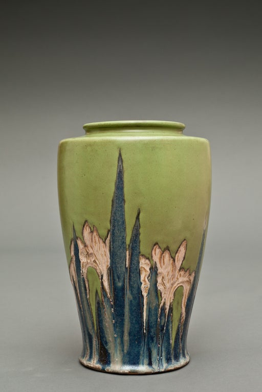 Japanese Early 20th Century Pottery Vase Of Iris Design At 1stdibs