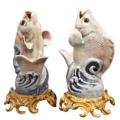 Pair of Japanese Arita-ware, leaping fish.