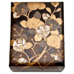 Japanese black lacquer bunko box