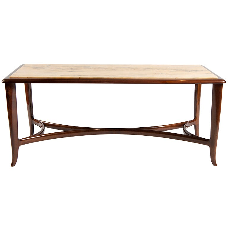Walnut and siena marble coffee table at 1stdibs for Marble and walnut coffee table