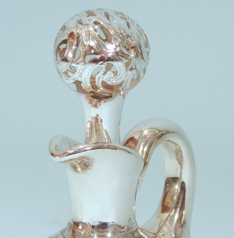 Art Nouveau .999 Fine Silver Filigree over Glass Decanter 2