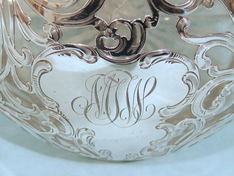 Art Nouveau .999 Fine Silver Filigree over Glass Decanter 3