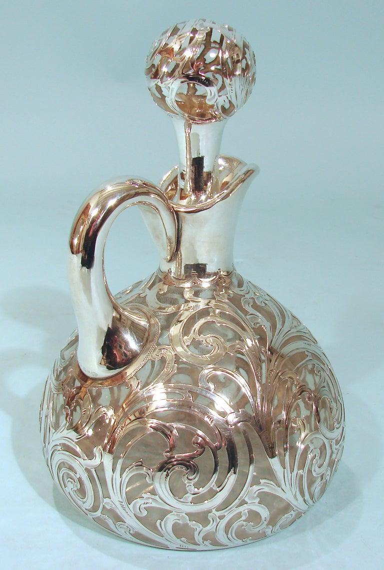 Art Nouveau .999 Fine Silver Filigree over Glass Decanter 4