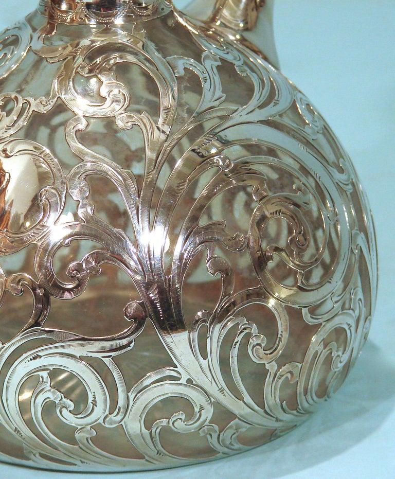 Art Nouveau .999 Fine Silver Filigree over Glass Decanter 5