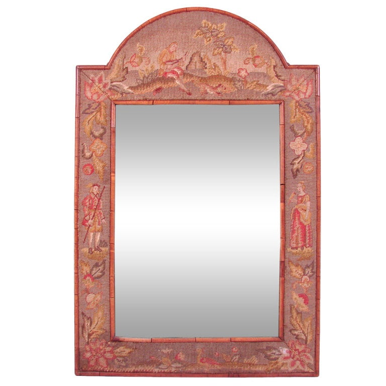 William And Mary Style Gros Pointe Fabric Framed Mirror At