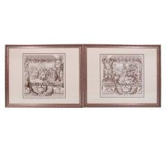 Pair of Framed Italian Baroque Engravings