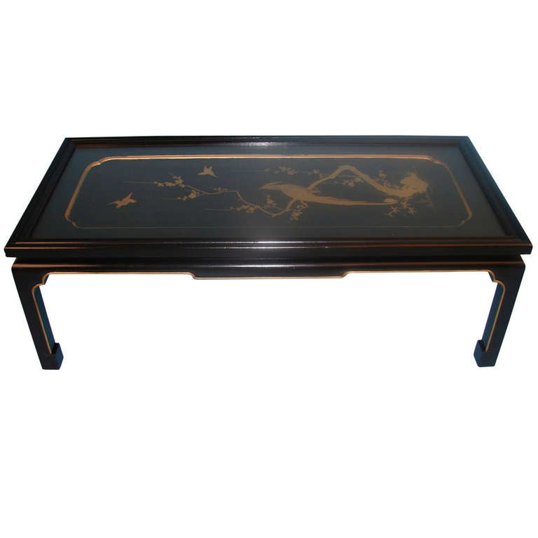 Japanese Black And Gold Lacquer Panel Now As Coffee Table